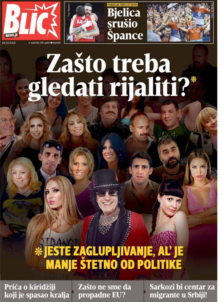 Medijska promocija rijaliti prostakluka: Naslovna strana Blica 6. septembra