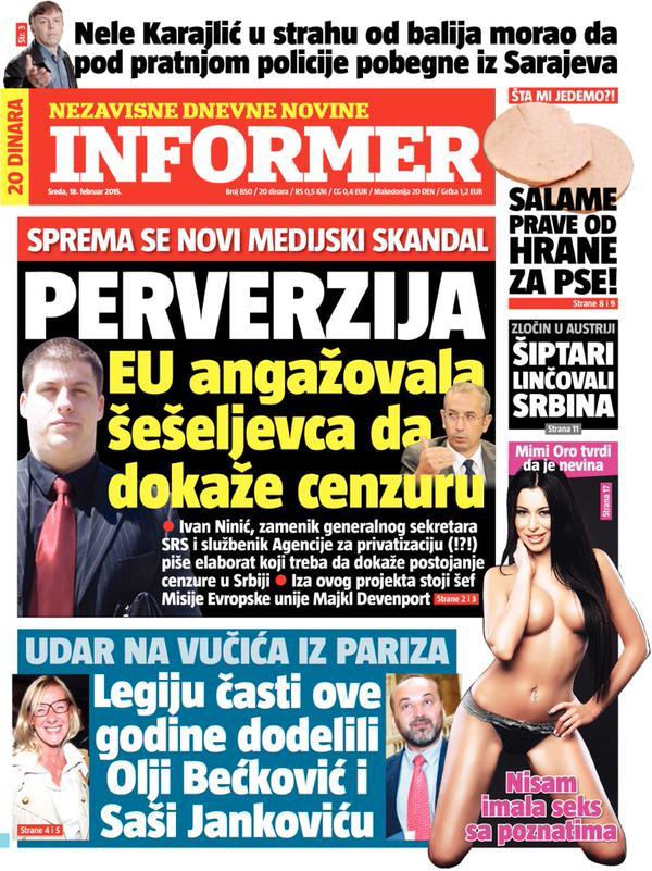 Informer, 18. februar 2015, u vreme kada Savet za borbu protiv korupcije objavljuje izveštaj na kome je i Ninić radio.