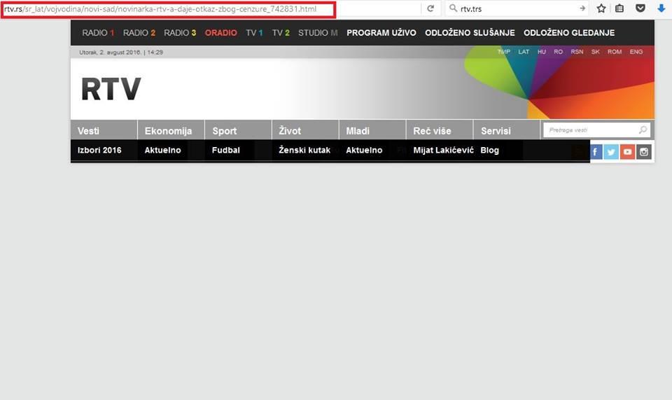 Rtv sajt prazna strana