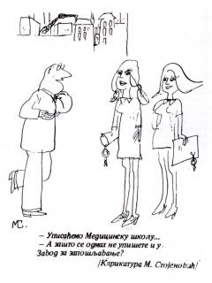 """Karikature na stranicama """"Narodnih"""" još sedamdesetih godina, autor: M. Stojanović"""