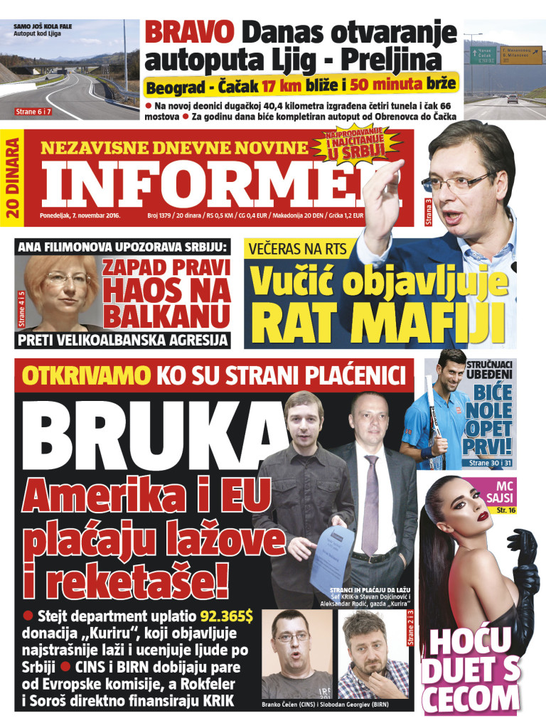 Photo: Informer daily, front page, November 7th.