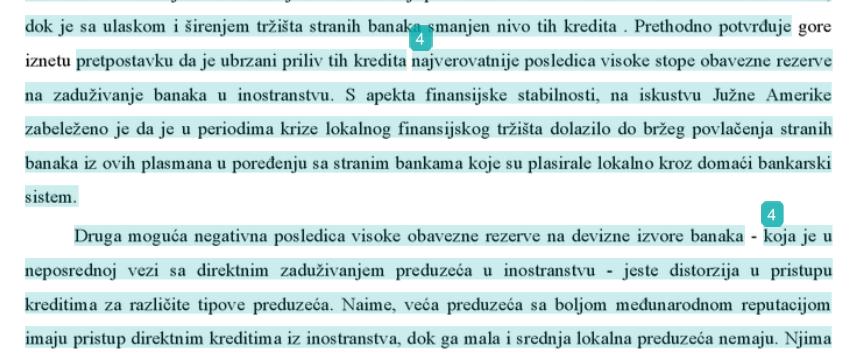 Primer označenog teksta nakon Turnitin analize