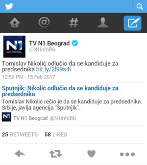 Screenshot: Tviter nalog N1 / Preuzeto sa uns.org.rs