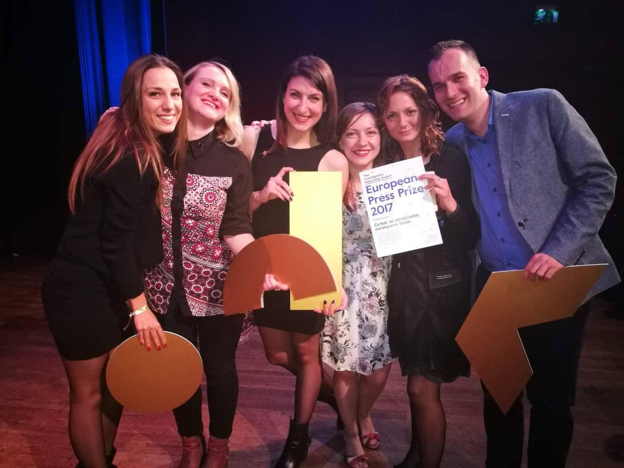Novinari CINS-a nakon dodele nagrade u Amsterdamu; Foto: CINS