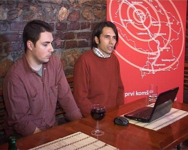 Foto, privatna arhiva: 29. januar 2010. godine, Predrag Blagojević i Đorđe Padejski na formalnom početku rada Južnih vesti