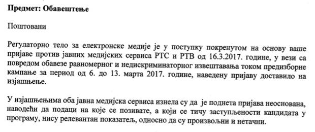 Obaveštenje REM-a upućeno Dverima / PrintScreen / Preuzeto sa istinomer.rs