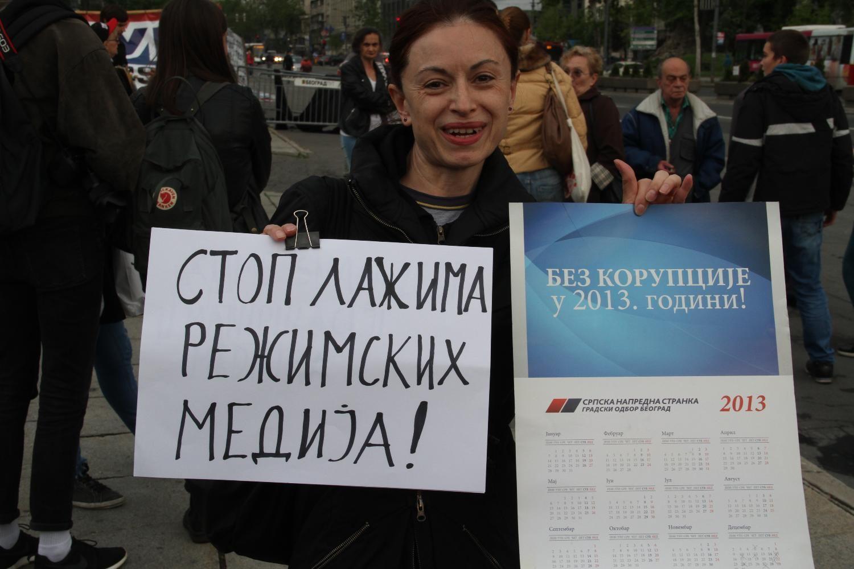 Detalj sa Protesta protiv diktature; Foto: FoNet/ Aleksandar Levajković