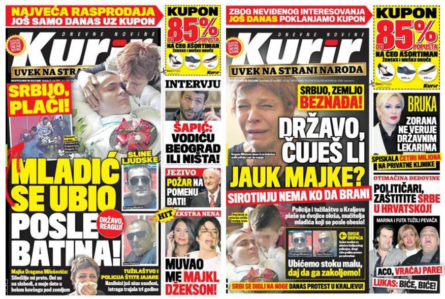 Naslovne strane Kurira, 21. 22. maj.