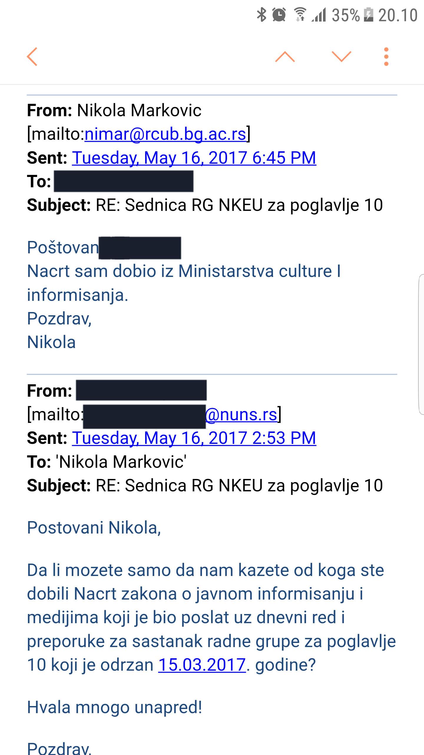 Mejl u kome Nikola Marković potvrđuje da je Nacrt dobio od Ministarstva informisanja; Foto: Slaviša Lekić/ printscreen